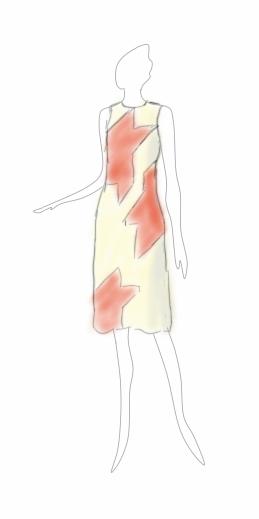 Croquis-dessin de styliste d'une robe à découpes en forme de grand pied de poule - modèle exemple des ateliers Rêve à Soie